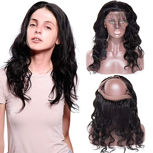 Lace Frontal Closure 360 Tissage Bresilien Ondulé Top Lace Closure - Tissage Meches Bresiliennes Extension en Cheveux Naturel (#1B Noir Naturel, 14\