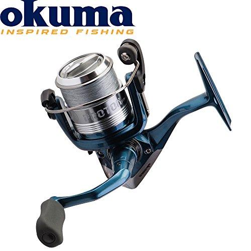 Okuma Proton PTN-40 - Stationärrolle mit Schnur zum Angeln auf Raubfische, Friedfische & Forellen, Angelrolle zum Forellenangeln, Spinnrolle