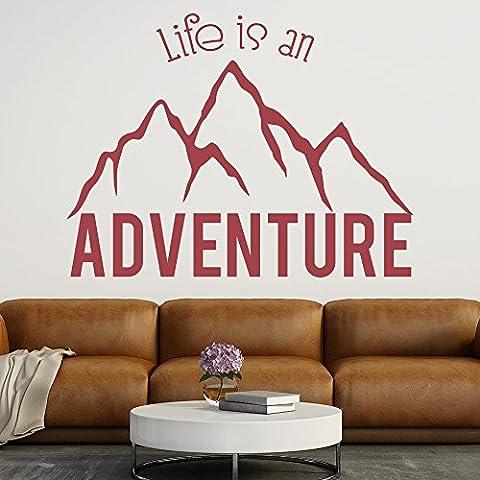Das Leben ist ein Abenteuer Berg Zitat Inspiration Wandsticker Start-Kunst-Abziehbilder verfügbar in 5 Größen und 25 Farben Extragroß (05 Berg)