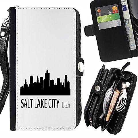 STPlus Salt Lake City, Utah USA Vereinigte Staaten von Amerika Stadt Skyline Silhouette Postkarte Geldbörsenhalter mit Handschlaufe und Reißverschluss Hülle Schutzhülle für Sony Xperia X Compact