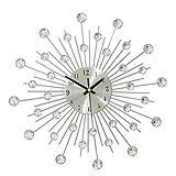 WINOMO Moderne Metall Wanduhr dekorative Diamante Perlen Kristall Uhr für Wohnzimmer Schlafzimmer Dekor