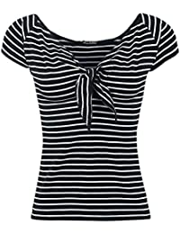 Hell Bunny Hannah Top T-shirt Femme noir/blanc