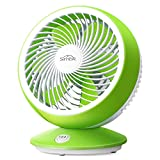 SIMBR USB Fan 6 Inch Adjustable, Two Speeds Adjustment Wind Ultra Silent, Office Bedroom Home Fan (Green + White)