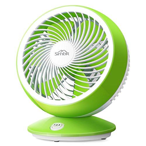 SIMBR Ventilator, 6 Zoll USB Tischventilator Mit 2 Geschwindigkeitsstufen für Zuhause und Büro, Leise und Starker Wind (Grün + Weiß)