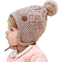 AHAHA Sombrero de Orejera de Bebé de Invierno Sombreros de Punto Pompom 15fe0a09bb1