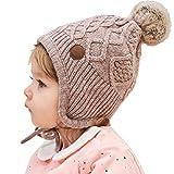 AHAHA Baby Wintermütze Ohrenklappen Pompon Strickmützen