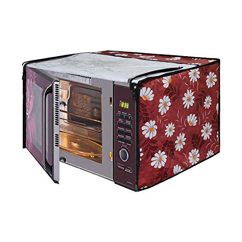 Glassiano Red-White Flower Printed Microwave Oven Cover for LG 32 Litre Convection Microwave Oven MC3286BRUM, Black