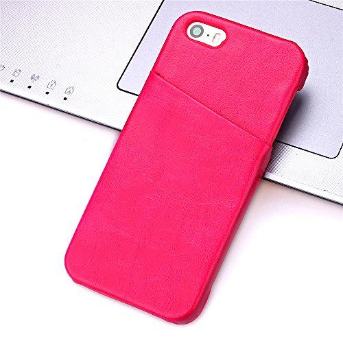 iPhone SE Hülle,iPhone 5S Hülle,iPhone 5 Hülle,iPhone 5S Case,iPhone 5S Tasche Hardskin Schutzhülle,NSSTAR® Wallet Hülle Schutzhülle,Ultra Slim Fit PU Leder Wallet mit Standfunktion Kreditkarte Identi Rose Red