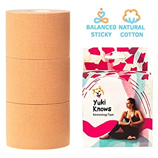 YukiKnows® Kinesiology Tape Classic Set - Physiotherapy Muscle Support for Orthopedic Rehabilitation and Pregnancy | Stretch and Sticky | Hypoallergenic with Medical Glue | Cotton Type, 3 Rolls