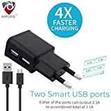 #5: Dvaio 2.1 Amp Dual Port Smart Wall charge adapter and Micro usb cable with in-built Auto-detect Technology compatible with Samsung, OnePlus, Motorola, Sony, LG, HTC, Lenovo, OPPO, Vivo, Microsoft, Nokia, Asus, Letv, Xiaomi, Coolpad, Micromax, Honor, Intex, Karbonn, Meizu, iBall, Lava, Huawei, and all other mobile devices, tablets, power banks, bluetooth speakers, cameras and More (Black)