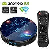 Android TV Box 9.0 T1 Max con【4GB RAM 64GB Rom】TV BOX Android Dual-WiFi 2.4GHz/5GHz /RK3318 Quad-Core Support 4K Full HD BT 4.1 USB 3.0 H.265 Digital LED Display Time Box Tv Android