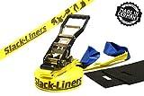 4 Teiliges Slackline-Set GELB - 50mm breit, 15m lang - mit Langhebelratsche - Slack-Liners - Made in Germany