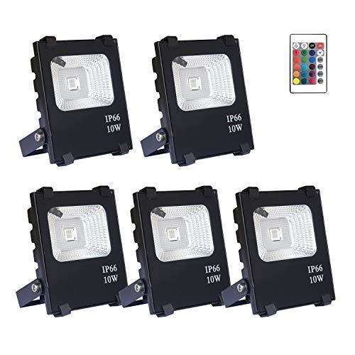 AUFUN 5er 10W LED außen strahler RGB mit fernbedienung - farbwechselhafte 4 Modi 16 Farben LED Fluter - LED sicherheitsleuchte schwarz wasserdicht IP66 (5x10W RGB) (10 W Led Rgb)