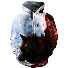 Wolf 3D Impreso Hombres Sudaderas Sudaderas Sudaderas Chaquetas de Chico, Suéter de Calidad Animal Tracksuits