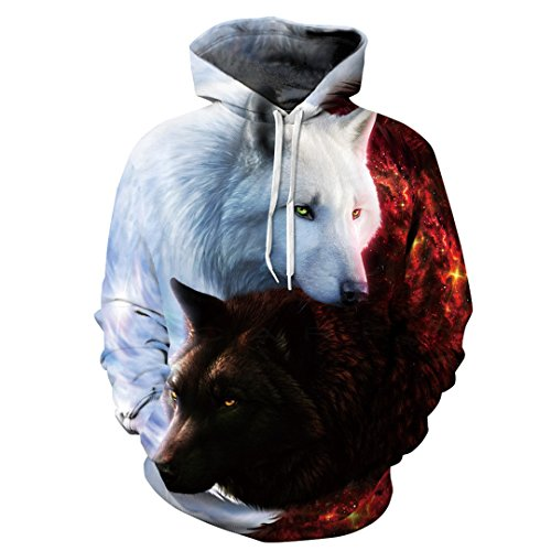 3D Hoodies Wolf gedruckt Hoodies Männer Sweatshirts Jungen Jacken Qualität Pullover Trainingsanzug Tier Streetwear aus Fell Bild Farbe M