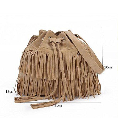 KINDOYO Big Handbag Borsa a tracolla da donna compatta in pelle scamosciata con frange - Nero Albicocca