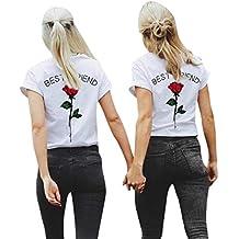 HOBDW Mujeres 2018 Mejor Amigo Cartas Rosa Impresa Camisetas Causal Blusas Tops