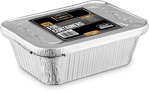 Disposable Aluminum Foil Trays Containers With Foil Lids 2400ml. Great For Baking Food Storage & More Pack Of 5 Aluminium-take-out-container