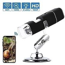 Digitale USB-Microscoop, 1080P WiFi Draagbare Endoscoop 50X-1000X Met 8 LED-Endoscoop, Metalen Standaard, Compatibel Met Android 4.3 of Hoger, iOS 8.0 of Hoger, Windows 7/8/10 en Mac OS