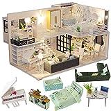 CUTEBEE Miniatura casa delle Bambole con mobili, Fai da Te Kit di Dollhouse di Legno Oltre a Prova di Polvere e Il Movimento della Musica