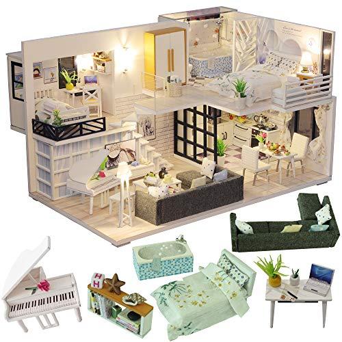 CUTEBEE Miniatura casa delle Bambole con mobili, Fai da Te Kit di Dollhouse di Legno Oltre a Prova...