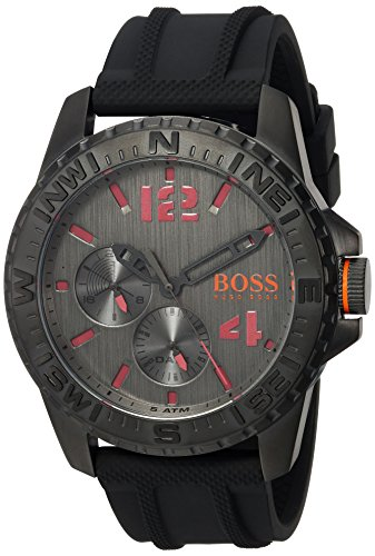 Movado Group Inc - dba Hugo Boss Men's 'REYKJAVIK' Quartz Stainless Steel and Rubber Casual Watch, Color:Black (Model: 1513423)