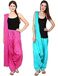 Green World Products : Combo Of Magenta(Dark Pink) & Sky Blue 2 Colours Women & Girls Solid Cotton Mix Best Indian...