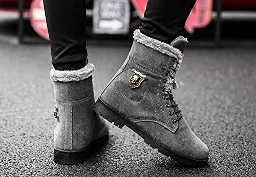 Uomo Martin inglese Stivali Autunno Inverno Moda Stivali alti Scarpe da lavoro classiche Scarpe calde da esterno in cotone Gray
