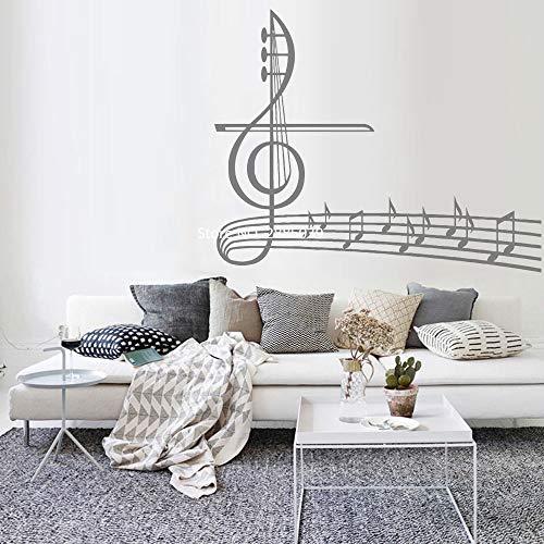 Musiknoten Tapeten Vinyl Aufkleber Violinschlüssel Wandaufkleber Musik Home Wanddekoration Schlafzimmerdekoration Abnehmbare Haushaltsgegenstände 105cm x 84cm -
