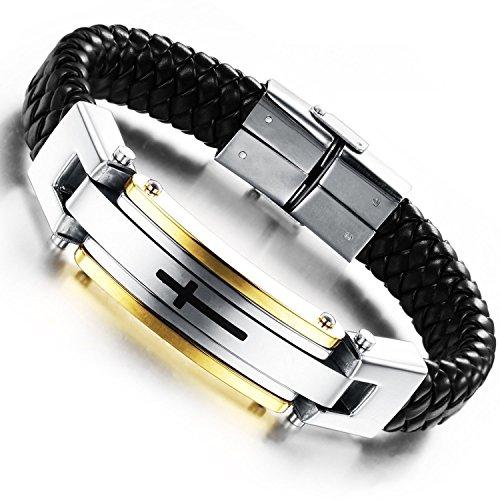 mendino-homme-poxy-lourds-bracelet-manchette-croix-biker-noir-argent-bracelet-en-cuir-tress-en-acier