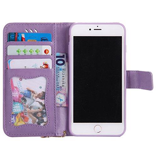 UKDANDANWEI Apple iPhone 7 Plus Case, noctilucent modèle Etui Supporter Flip PU Cuir Pochette Portefeuille Housse Coque avec Crédit Carte Tenant Fente pour Apple iPhone 7 Plus - Doré Violet