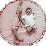 autumn-wind Cartoon Creeping Mat Baby Infant Playmat Blanket Play Game Mat Room Decoration Round Crawling Activity Pad Carpet Floor Home Rug Gift (Pink lace)