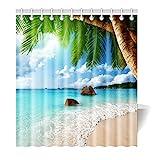 Violetpos Duschvorhang Strand Palme Dekor Hochwertige Qualität Badezimmer 120 x 180 cm