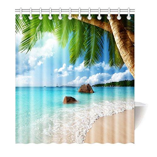 Violetpos Duschvorhang Strand Palme Dekor Hochwertige Qualität Badezimmer 180 x 200 - Palme Duschvorhänge