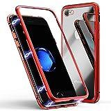 Coque pour iPhone 7/8, Coque d'adsorption magnétique ZHIKE Cadre métallique Ultra Fin Verre trempé avec Couvercle à Aimant intégré pour Apple iPhone 7/8 (Rouge Clair)
