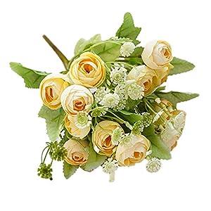 yongqxxkj Flores Artificiales, pétalos Que se sienten y parecen Rosas Frescas, gypsofila o peonía Floral, Ramo de Flores…