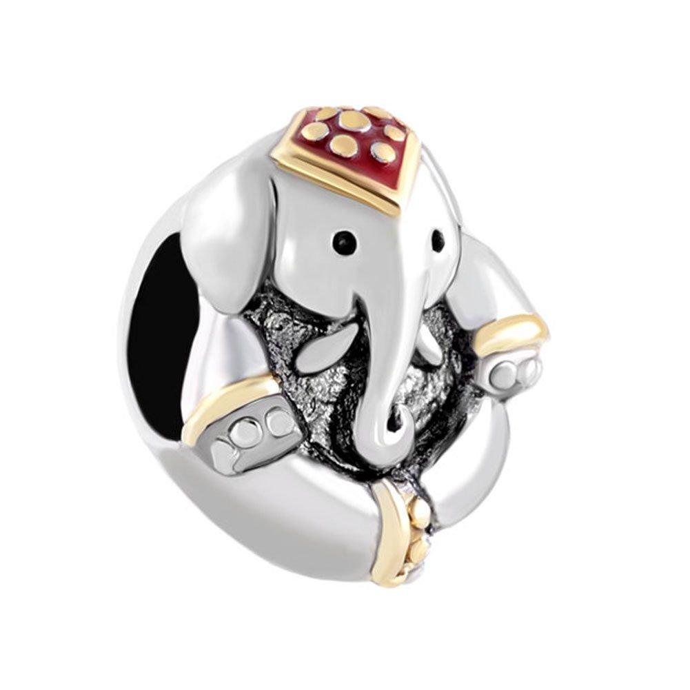 Uniqueen Antique Elephant Thailand Lucky Animal Charms Beads fit Charm Bracelet