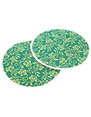 Kuber Industries Cotton 2 Pieces Roti Cover/Chapati Cover/Roti Rumals (Green) 1 Piece Top & 1 Piece Bottom-CTKTC32558
