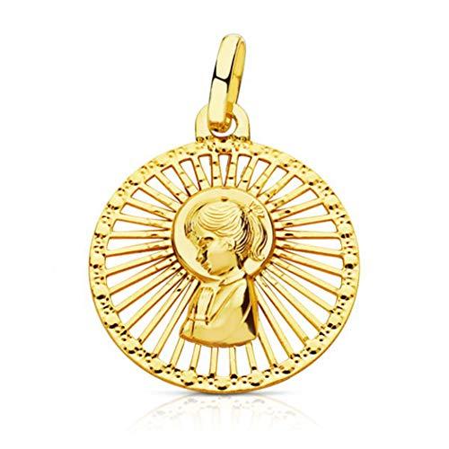 Medalla Virgen niña Primera comunión - Oro Ley 18K