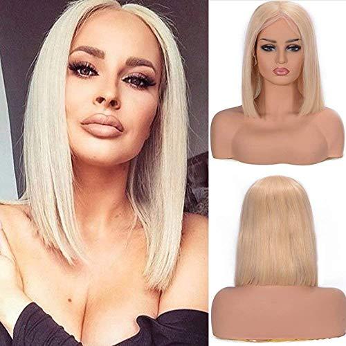 KPLMⓇ Honig Blonde brasilianische remy Menschenhaar Lace Front Perücken für weiße männliche Mittelteil stumpfen Schnitt Kurze Bob Perücke (10-17 Zoll)