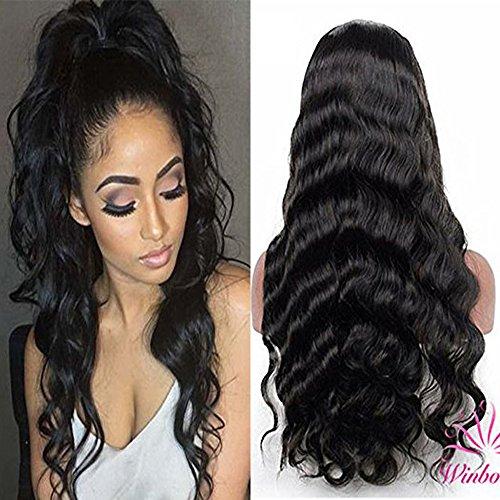 Winbowig 7A Body Wave brésiliens vierges Remy Cheveux humains sans colle Perruque lace front Dentelle intégrale Pre-plucked Hairline gratuit supplémentaire Naturel Noir avec des cheveux de bébé Densité de 130%