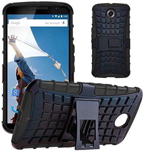 G-Shield Hülle für Google Nexus 6 Stoßfest Schutzhülle mit Ständer - Schwarz
