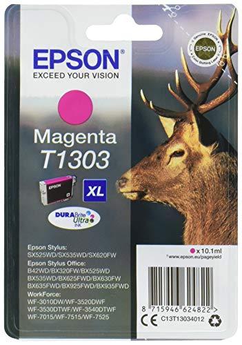 Epson Original T1303 Tinte Hirsch (SX420W BX320FW SX620FW BX/SX525WD BX625FWD BX305FW B42WD BX925FWD BX635FWD BX535WD SX435/440W BX630FW SX235W WF7015 7515 7525 3010 3520 3540) magenta -