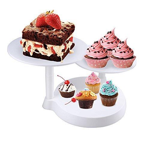 Uten Présentoir à Gâteaux 3 Étages Support Plateau à Gâteaux en Plastique Démontable pour Décoration et Présentation Stable de Cupcake Gâteaux d'Anniversaire Mariage et Fête - Blanc