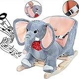 Deuba Schaukelelefant Schaukeltier Plüsch Schaukel Wippe Elefant Kinder Baby Spielzeug ✔Sound-Geräusche ✔inkl. Sicherheitsgurt ✔Balancetraining ✔besonders weich