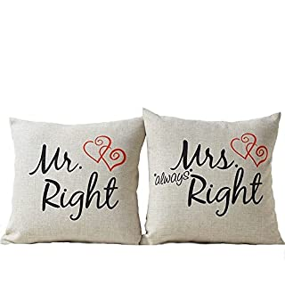Mr Right Mrs Always Right Liebhaber Hochzeit Kissen CIDBEST® Mr Mrs Paar  Geschenke Kissen Dickes