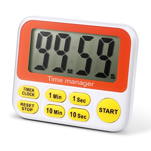 Aimar - Timer digitale da cucina con conto alla rovescia e sveglia, grande schermo e impostazione rapida Yellow