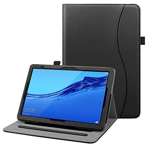 Fintie Hülle für Huawei MediaPad T5 10 - Multi-Winkel Flip Betrachtung Kunstleder Schutzhülle mit Dokumentschlitze für Huawei MediaPad T5 10 10.1 Zoll 2018 Tablet PC,Schwarz