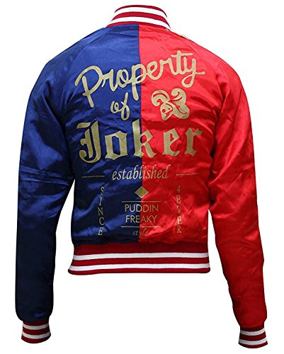 StarFMLTD Suicide Squad Harley Quinn Property Of Joker Bomber Red and Blue Satin Jacket