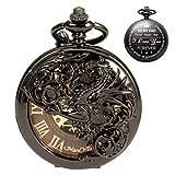 ManChDa-Reloj de Bolsillo Negro Dragón Caja Hueca Doble Cazador Esqueleto Marcar con Cadena de Vaquero & Extra T-Bar Cadena + Caja de Regalo (3.Engraved:TO MY Dad)